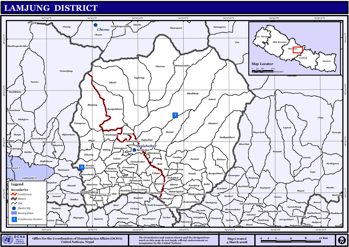 Px Nepallamjungdistrictmap on Where Is Kathmandu Nepal On A Map