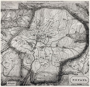 Bhimsen Thapa - Map of Kathmandu Valley made by Charles Crawford (a member of Captain Knox's entourage) in 1802–03.