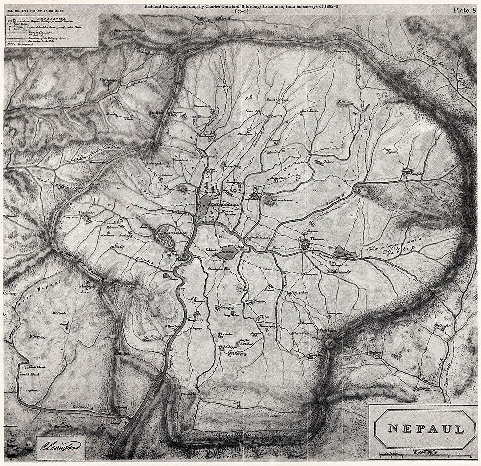 Nepaul valley map 1802