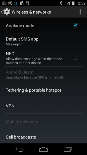 Airplane mode - Nexus 5; Android 4.4.2, in airplane mode