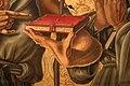 Nicola di maestro antonio d'ancona, madonna col bambino in trono tra santi, 1472, 11 mano con libro.jpg