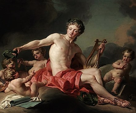 Apollo crowning the arts, by Nicolas-Guy Brenet Nicolas-Guy Brenet - Apollo Crowning the Arts, 1771.jpg