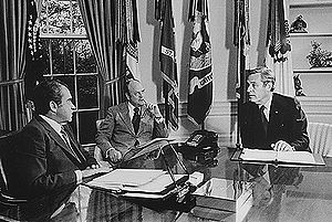 John Arthur Love - Left to right: President Richard Nixon, Secretary of Defense Melvin Laird, and John A. Love in the Oval Office, 1973.