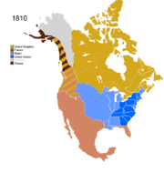 Map showing Non-Native Nations Claim over NAFTA countries c. 1810