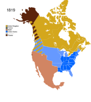 Map showing Non-Native Nations Claim over NAFTA countries c. 1819