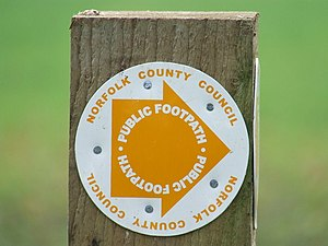 Norfolk County Council - Norfolk County Council public footpath signpost