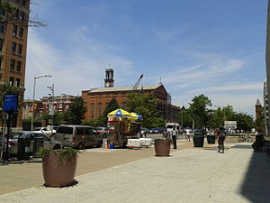 Swampoodle, Washington, D.C. - North Capitol Street in 2014. In the middle distance may be seen St. Aloysius Church and Gonzaga College High School; Union Station is several blocks in the opposite direction, behind the photographer.