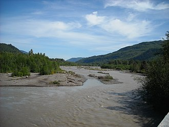 Nooksack River - The silty North Fork Nooksack River from the Mosquito Lake Road Bridge.