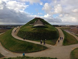 Northumberlandia - The head pictured from below showing lips, nostrils, eyes and forehead