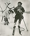 Norwegian Sami refugees with his reindeer in the Swedish border stations of Maunu.jpg