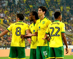 Timm Klose - Left to right: Jonny Howson, Cameron Jerome, Klose and Jacob Murphy. Norwich City defensive wall v Wigan Athletic F.C., September 2016