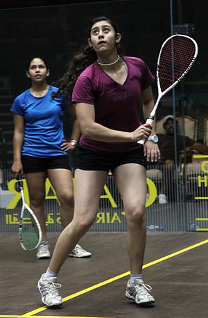 Nour El Sherbini - Nour El Sherbini at the World Junior Squash Championships in Doha, 2012