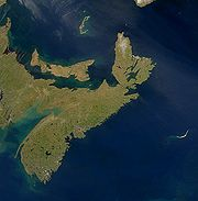 A satellite photo of Nova Scotia.
