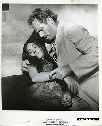Linda Harrison (actress) - Taylor (Charlton Heston) cradles the dying Nova (Harrison) in Beneath the Planet of the Apes