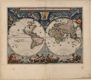 Atlas van Loon -  Blaeu's world map, published in the first book of the Atlas van Loon (1664).