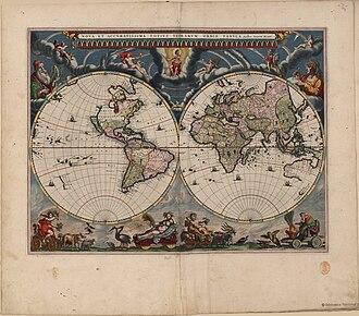 Joan Blaeu - Image: Nova et Accuratissima Terrarum Orbis Tabula (J.Blaeu, 1664)