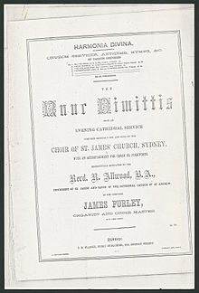 "Printed cover page of musical score, using different fonts and ""Respectfully dedicated to the Revd. R. Allwood, B.A., incumbent of St. James' and Canon of the cathedral church of St. Andrew"", for use in a service at St Andrew's"