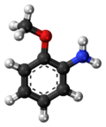 Ball-and-stick model of the o-anisidine molecule