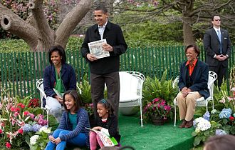 President Barack Obama and Michelle Obama, their daughters Malia and Sasha, and Michelle's mother, Marian Robinson at White House Easter Egg Roll Obamas at White House Easter Egg Roll 4-13-09 1.JPG