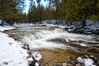 Ocqueoc River - Ocqueoc Falls in winter