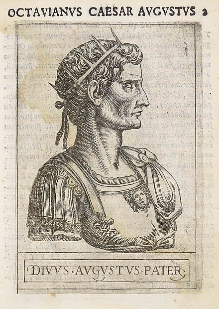Augustus in a late 16th Century copper engraving by Giovanni Battista Cavalieri. From the book Romanorum Imperatorum effigies (1583), preserved in the Municipal Library of Trento (Italy) Octavianus Caesar Augustus.jpg