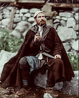 Old peasant with dagger and long smoking pipe, Mestia, Svanetia, Georgia (Republic).Color.jpg