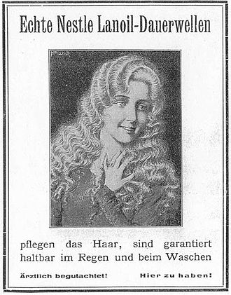 Perm (hairstyle) - Early 20th century advertisement for Nessler's permanent wave machine