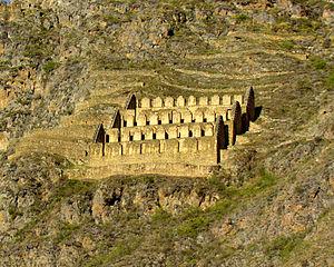 Qullqa - A complex of 27 Qullqas above Ollantaytambo, Peru