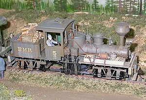 On30 gauge - A Shay locomotive in On30 gauge, based on the Bachmann Industries model.