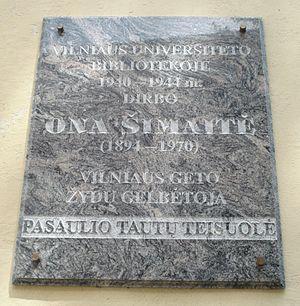 Ona Šimaitė - Plaque in Vilnius honoring Šimaitė