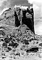 """One of the many high cliffs in Grand Gorge, Capitol Reef National Park. (Note Grant's """"Black Maria"""" in foreground -- his (28dcf4b64ebf47e89ae9aba50414f2db).jpg"""