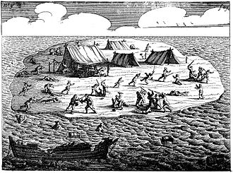Jeronimus Cornelisz - A 1647 engraving showing the Beacon Island massacre of survivors of the Batavia shipwreck