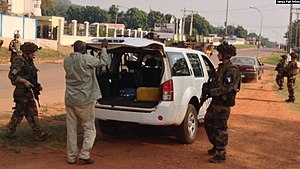 Operation Sangaris - Checkpoint held by French troops of Opération Sangaris on 22 December 2013 in Bangui.