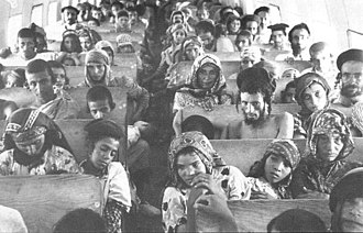 Jewish exodus from Arab and Muslim countries - Yemenite Jews en route from Aden to Israel, during the Operation Magic Carpet (1949–1950)
