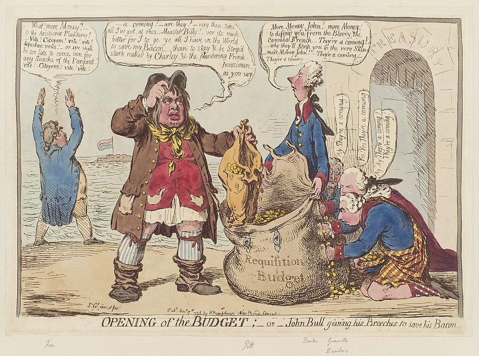 Opening of the budget; - or - John Bull giving his breeches to save his bacon by James Gillray