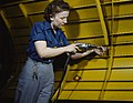Operating a hand drill at Vultee-Nashville, woman is working on a Vengeance dive bomber, Tennessee, LCCN2017878546.jpg