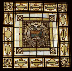 Povey Brothers Studio - Detail of Oregon State Seal skylight in the courtroom of the Oregon Supreme Court Building, Salem, Oregon