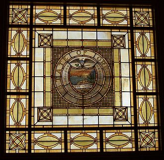 Oregon Supreme Court Building - Stained-glass skylight above the third floor courtroom. This skylight replaced the one destroyed in 1962.