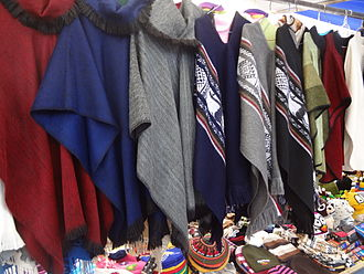 Alpaca - Traditional alpaca clothing at the Otavalo Artisan Market in the Andes of Ecuador