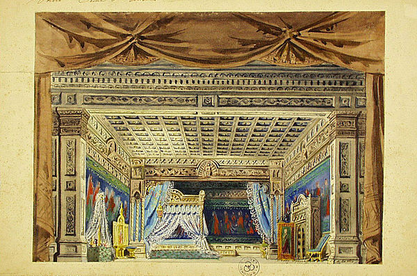 Otello: set design by Giovanni Zuccarelli for Act IV as staged at the Teatro Costanzi in Rome, 1887. Otello-set design-act 4-Teatro Costanza 1887-Giovanni Zuccarell.jpeg