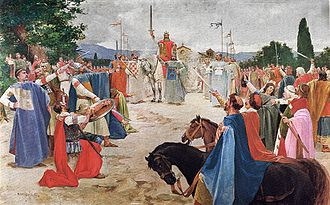 Tomislav of Croatia - Coronation of King Tomislav (modern painting by Oton Iveković)