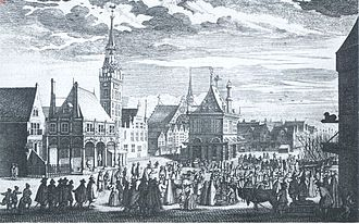 Alteratie - The old city hall on the Dam square in an engraving from the 17th century