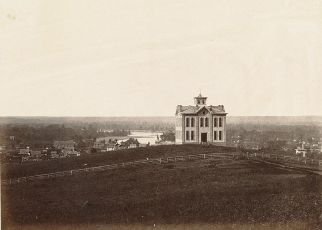 Overlooking Lawerence and the Kansas River. (Boston Public Library) (cropped)