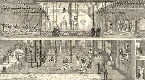 A picture of a gymnasium in Oxford, circa 1858/59. Nineteenth-century trends in physical education included climbing and fencing. Oxford gymnasium.jpg