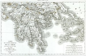 Morea expedition - Map of the Peloponnese from Abel Blouet's Expédition scientifique de Morée, 1831.