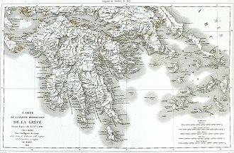 Morea expedition - Map of the Peloponnese from Abel Blouet's Expédition scientifique de Morée, 1831.