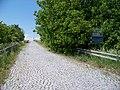 Přední Kopanina, zrušená silnice k letišti, směrové značky.jpg