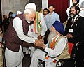 PM Narendra Modi interacting with the Freedom Fighters on the occasion of 75th Anniversary of the Quit India Movement.jpg