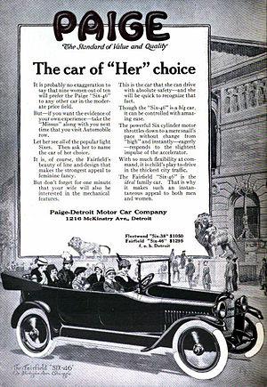 Paige automobile - Paige advertising, circa 1916.