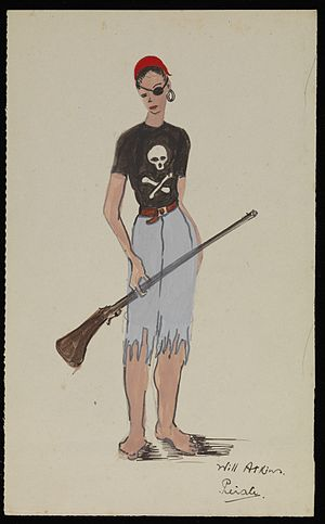 Netherne Hospital - Image: Painting of a pirate. Costume design for Netherne pantomime. Wellcome L0074473